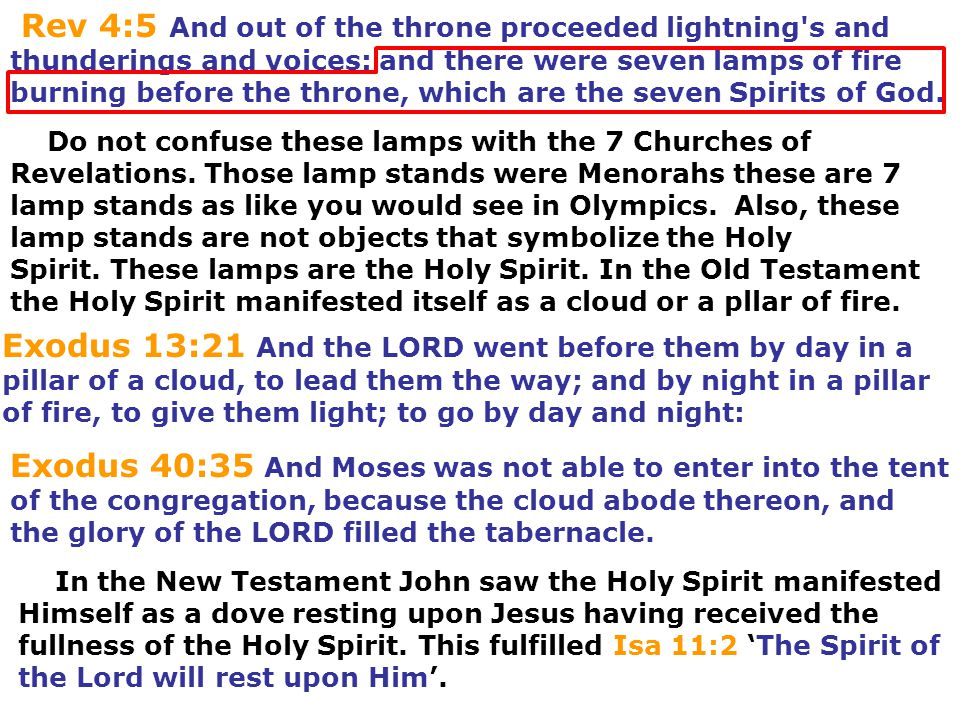 Rev 4:5 And out of the throne proceeded lightning's and thunderings and voices: and there were seven lamps of fire burning before the throne, which ar
