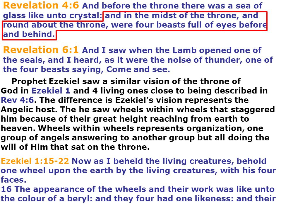 Revelation 4:6 And before the throne there was a sea of glass like unto crystal: and in the midst of the throne, and round about the throne, were four