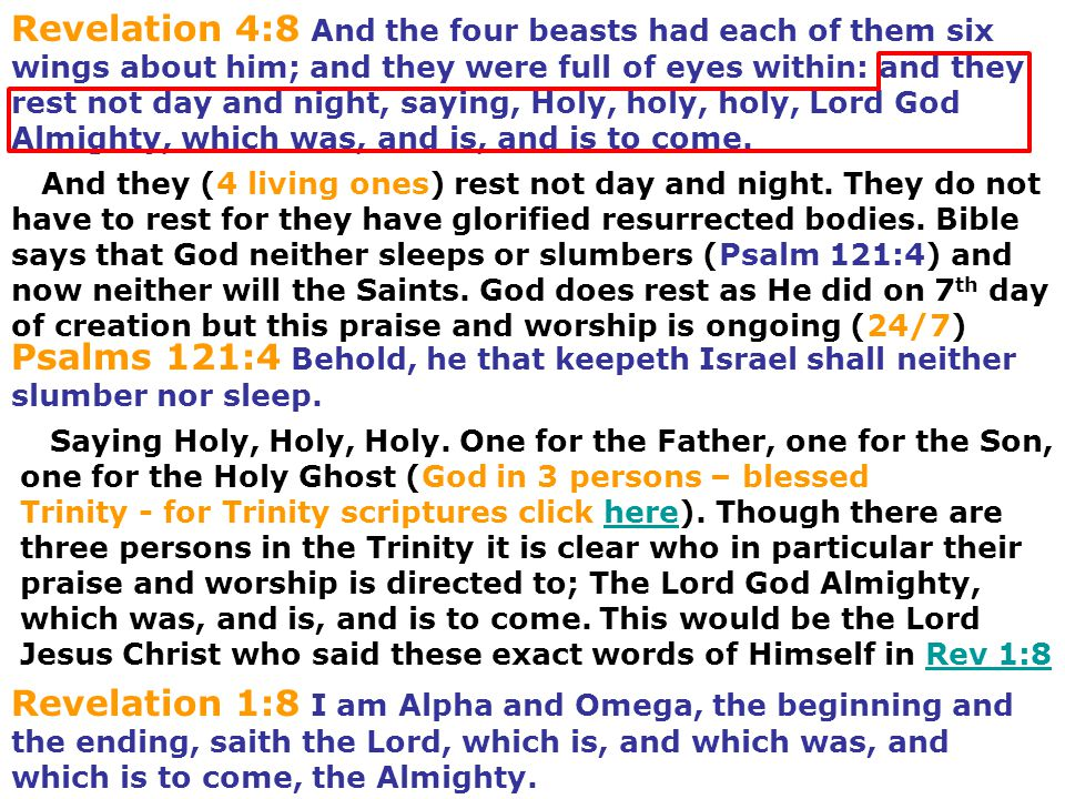 Revelation 4:8 And the four beasts had each of them six wings about him; and they were full of eyes within: and they rest not day and night, saying, H