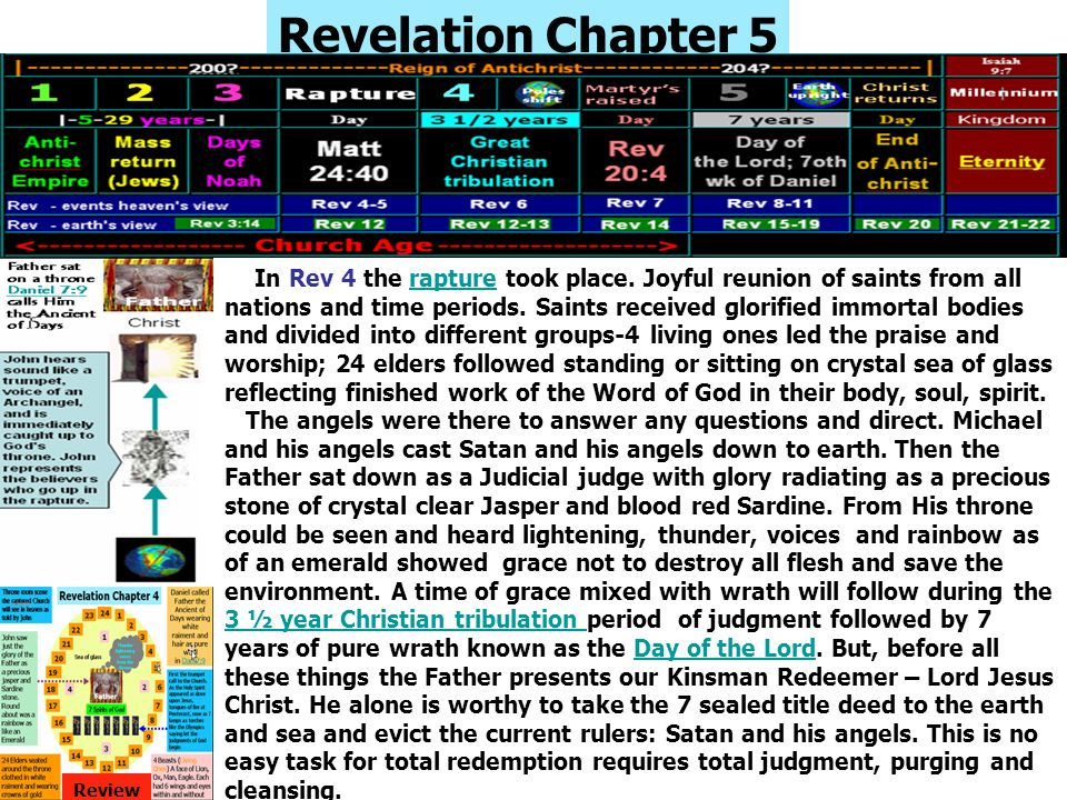 Revelation Chapter 5 In Rev 4 the rapture took place. Joyful reunion of saints from all nations and time periods. Saints received glorified immortal b