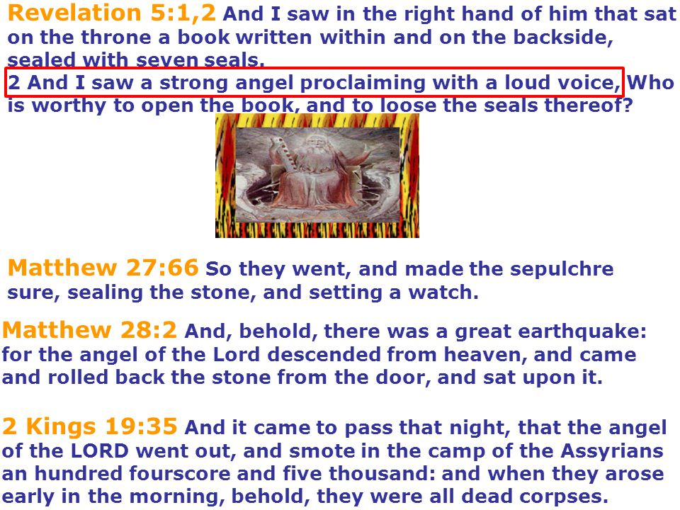 Revelation 5:1,2 And I saw in the right hand of him that sat on the throne a book written within and on the backside, sealed with seven seals. 2 And I