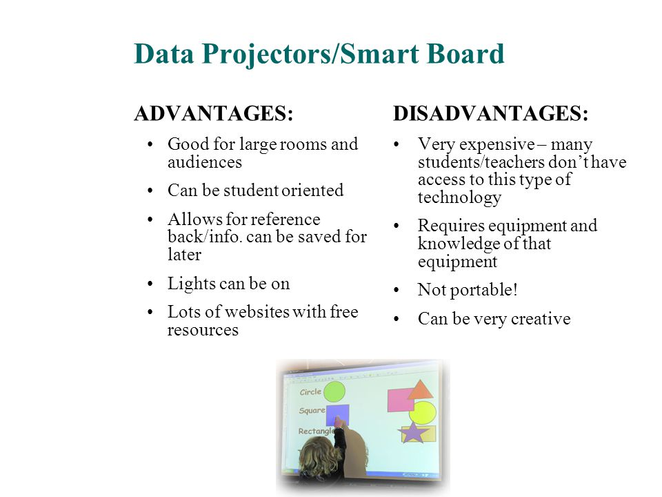 Data Projectors/Smart Board ADVANTAGES: Good for large rooms and audiences Can be student oriented Allows for reference back/info. can be saved for la