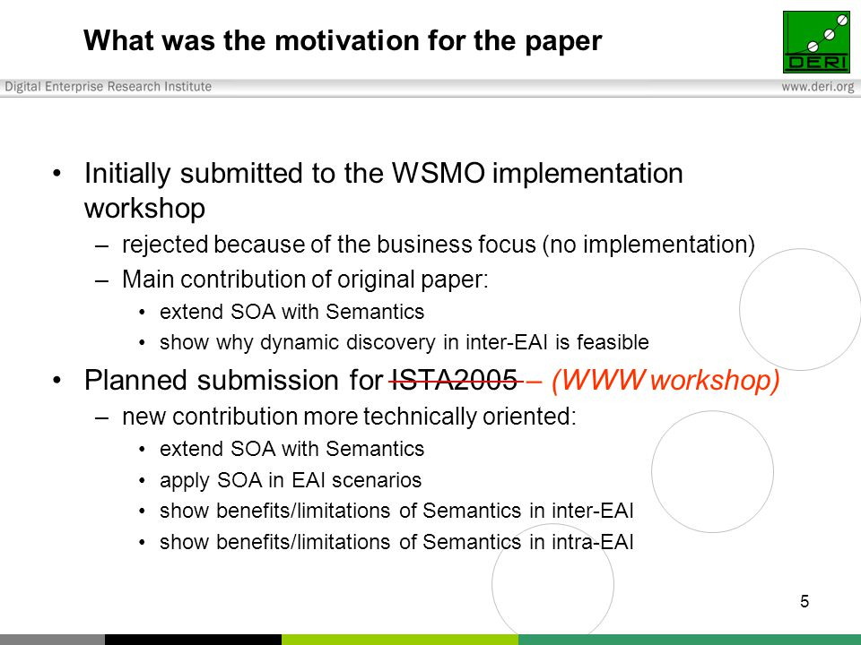 5 What was the motivation for the paper Initially submitted to the WSMO implementation workshop –rejected because of the business focus (no implementation) –Main contribution of original paper: extend SOA with Semantics show why dynamic discovery in inter-EAI is feasible Planned submission for ISTA2005 – (WWW workshop) –new contribution more technically oriented: extend SOA with Semantics apply SOA in EAI scenarios show benefits/limitations of Semantics in inter-EAI show benefits/limitations of Semantics in intra-EAI