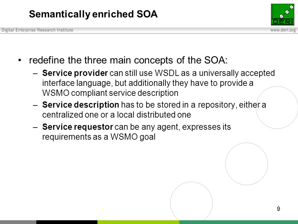 9 Semantically enriched SOA redefine the three main concepts of the SOA: –Service provider can still use WSDL as a universally accepted interface language, but additionally they have to provide a WSMO compliant service description –Service description has to be stored in a repository, either a centralized one or a local distributed one –Service requestor can be any agent, expresses its requirements as a WSMO goal