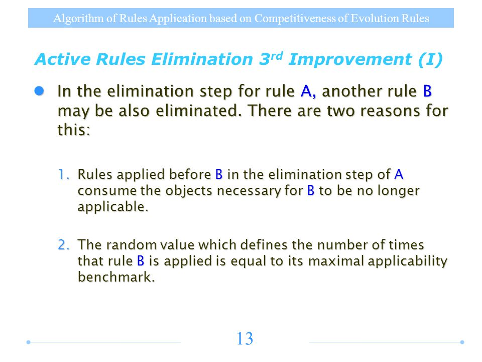 Algorithm of Rules Application based on Competitiveness of Evolution Rules 13 Active Rules Elimination 3 rd Improvement (I) In the elimination step for rule A, another rule B may be also eliminated.