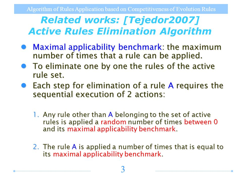 Algorithm of Rules Application based on Competitiveness of Evolution Rules 3 Related works: [Tejedor2007] Active Rules Elimination Algorithm Maximal applicability benchmark: the maximum number of times that a rule can be applied.