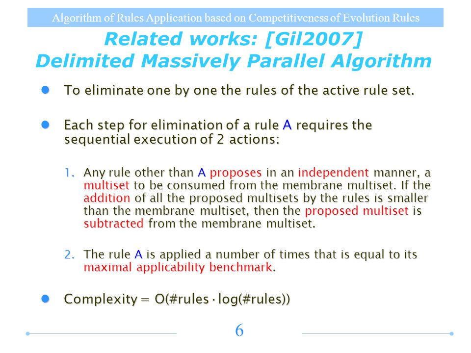 Algorithm of Rules Application based on Competitiveness of Evolution Rules 6 To eliminate one by one the rules of the active rule set.