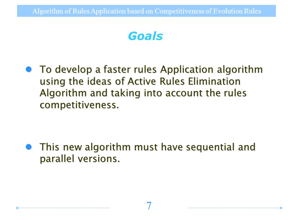 Algorithm of Rules Application based on Competitiveness of Evolution Rules 8 Active Rules Elimination Improvement Competitiveness Graph Competitiveness Graph r 1 : ab … r 2 : a 2 … r 3 : cd 3 … r 4 : c 2 d … r1r1 r2r2 a r3r3 r4r4 c, d