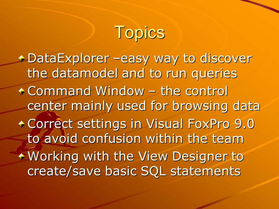 Topics DataExplorer –easy way to discover the datamodel and to run queries Command Window – the control center mainly used for browsing data Correct settings in Visual FoxPro 9.0 to avoid confusion within the team Working with the View Designer to create/save basic SQL statements