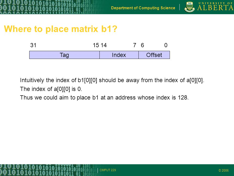 © 2006 Department of Computing Science CMPUT 229 Where to place matrix b1? 151476031 TagIndexOffset Intuitively the index of b1[0][0] should be away f