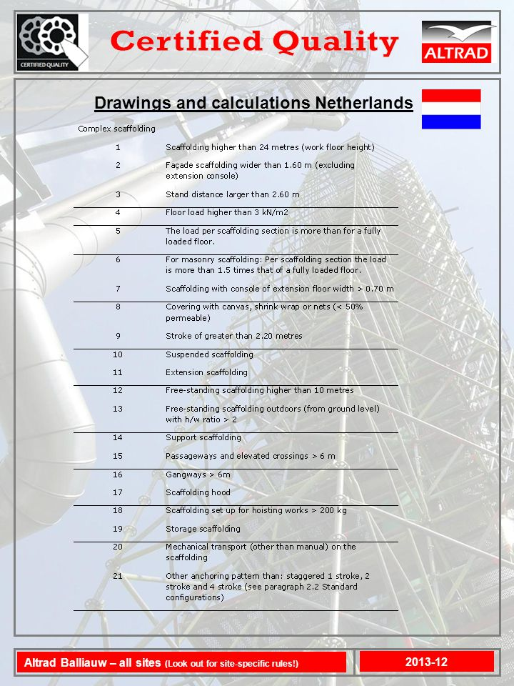 Drawings and calculations Netherlands 2013-12 Altrad Balliauw – all sites (Look out for site-specific rules!)