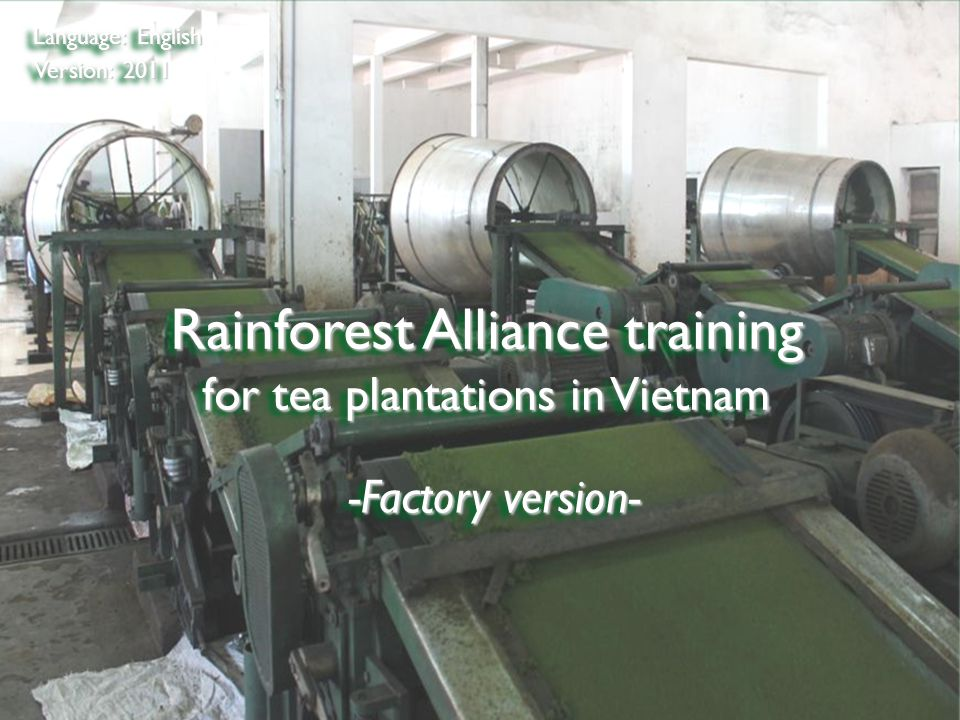 ©2009 Rainforest Alliance Rainforest Alliance training for tea plantations in Vietnam Language: English Version: 2011 -Factory version-