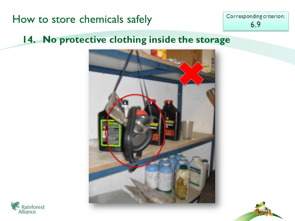 How to store chemicals safely 14. No protective clothing inside the storage Corresponding criterion: 6.9 Corresponding criterion: 6.9