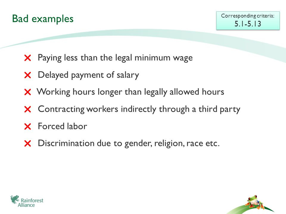 Bad examples  Paying less than the legal minimum wage  Delayed payment of salary  Working hours longer than legally allowed hours  Contracting wor