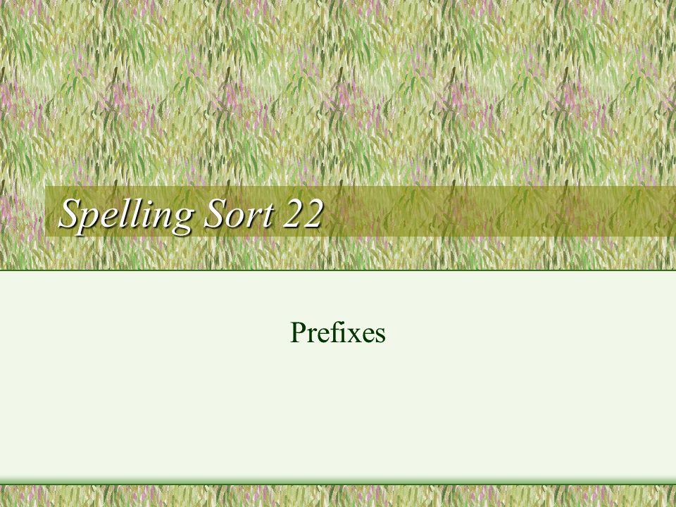 Spelling Sort 22 Prefixes