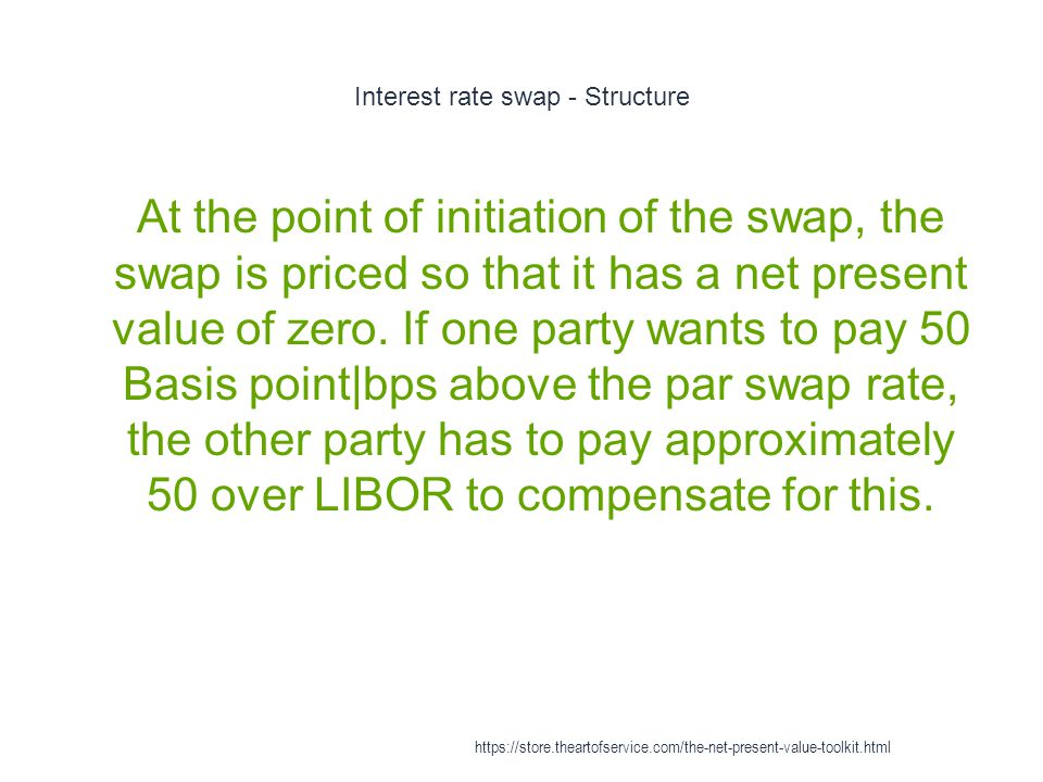 Interest rate swap - Structure 1 At the point of initiation of the swap, the swap is priced so that it has a net present value of zero.