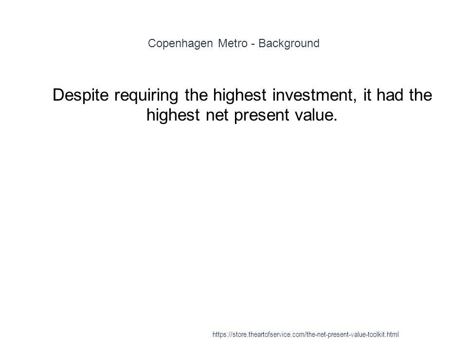 Copenhagen Metro - Background 1 Despite requiring the highest investment, it had the highest net present value. https://store.theartofservice.com/the-