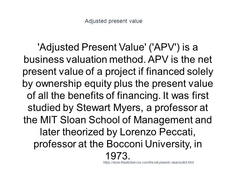 Adjusted present value 1 Adjusted Present Value ( APV ) is a business valuation method.
