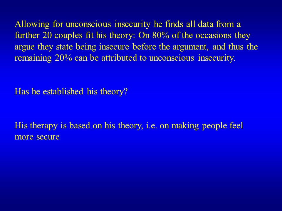 Allowing for unconscious insecurity he finds all data from a further 20 couples fit his theory: On 80% of the occasions they argue they state being insecure before the argument, and thus the remaining 20% can be attributed to unconscious insecurity.