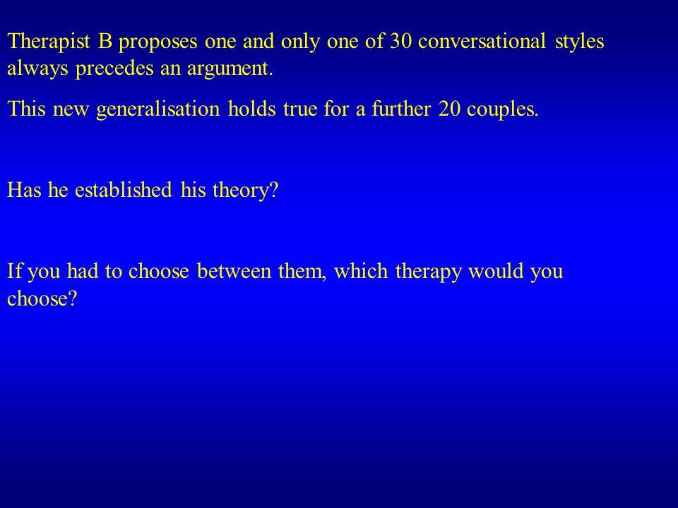 Therapist B proposes one and only one of 30 conversational styles always precedes an argument.