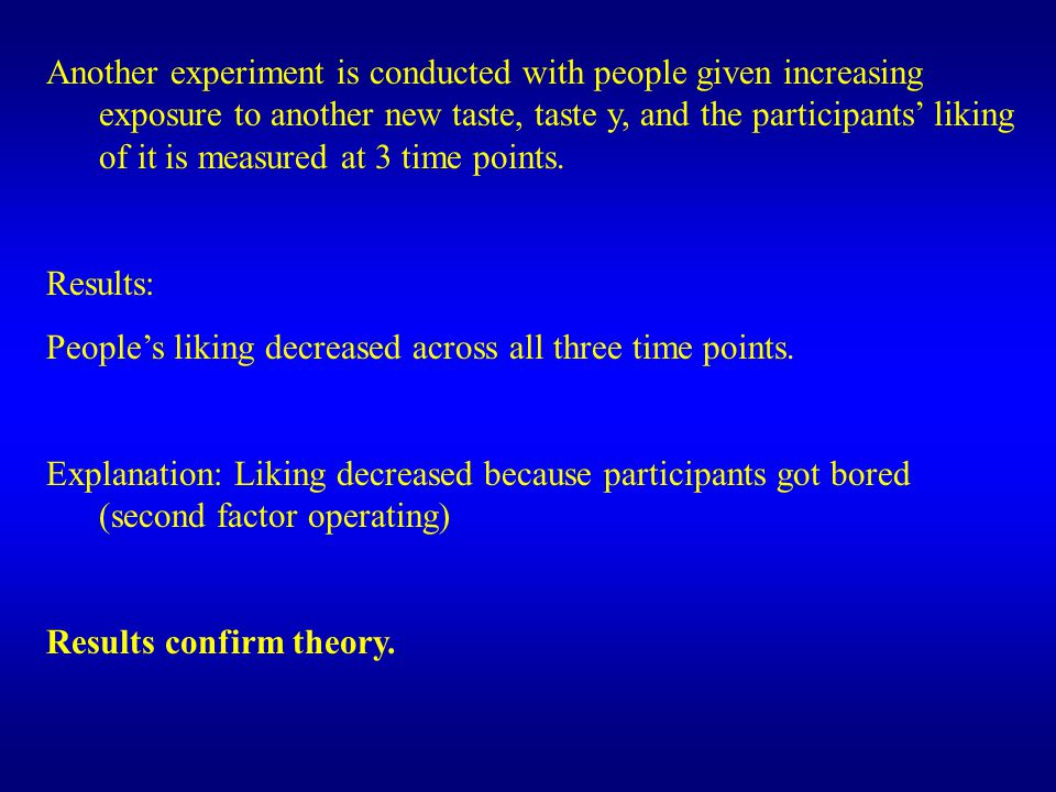 Another experiment is conducted with people given increasing exposure to another new taste, taste y, and the participants' liking of it is measured at 3 time points.