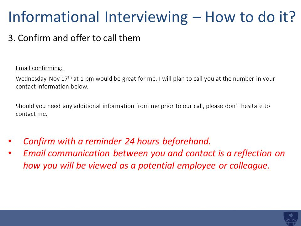 Informational Interviewing – How to do it.3.