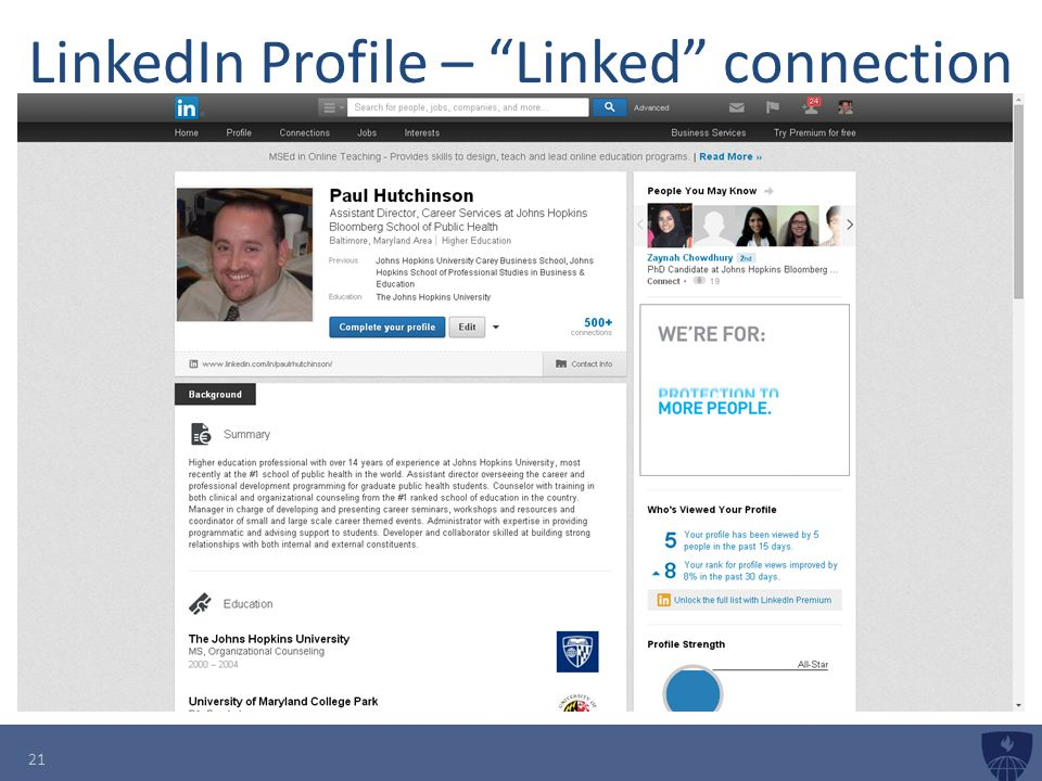 LinkedIn Profile – Linked connection 21