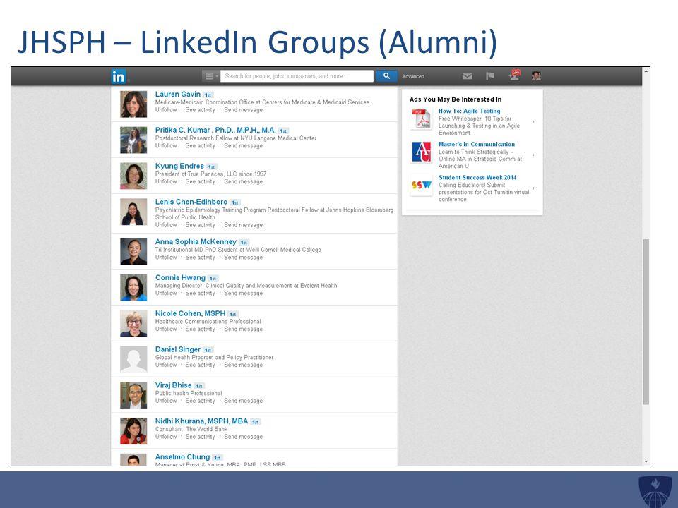 JHSPH – LinkedIn Groups (Alumni)