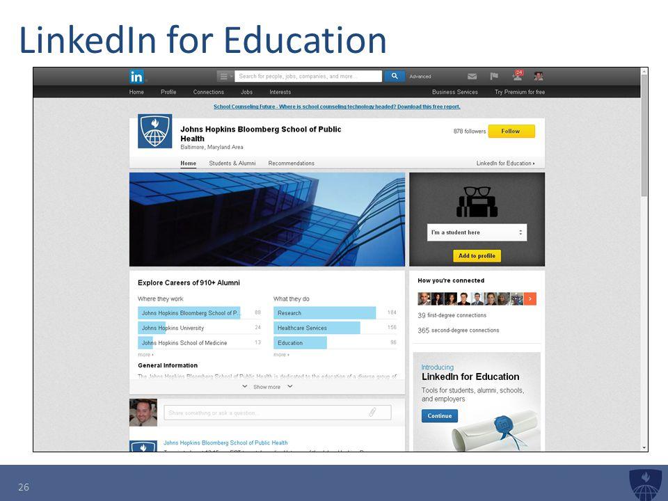 LinkedIn for Education 26
