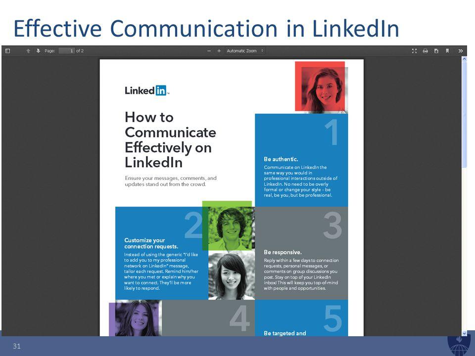 Effective Communication in LinkedIn 31