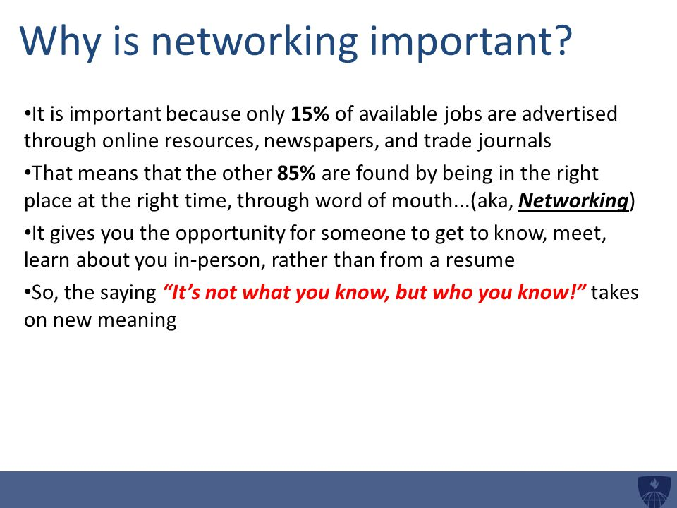 Why is networking important.