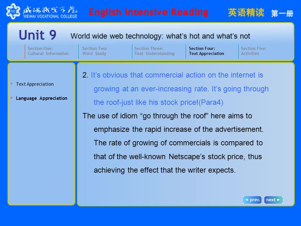World wide web technology: what's hot and what's not Unit 9 Activity 1 Pair works Have the student's work in pairs and ask each other if they enjoy surfing on the internet and why.