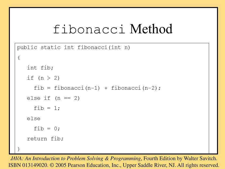 fibonacci Method public static int fibonacci(int n) { int fib; if (n > 2) fib = fibonacci(n-1) + fibonacci(n-2); else if (n == 2) fib = 1; else fib = 0; return fib; }