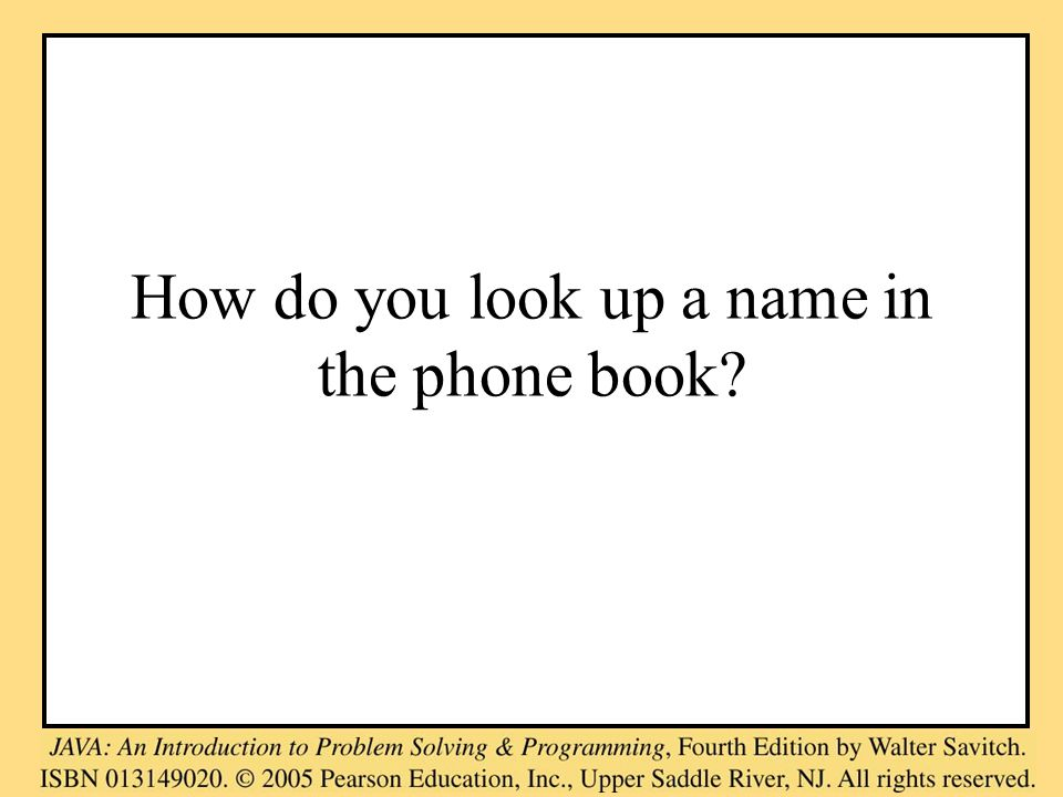 How do you look up a name in the phone book?