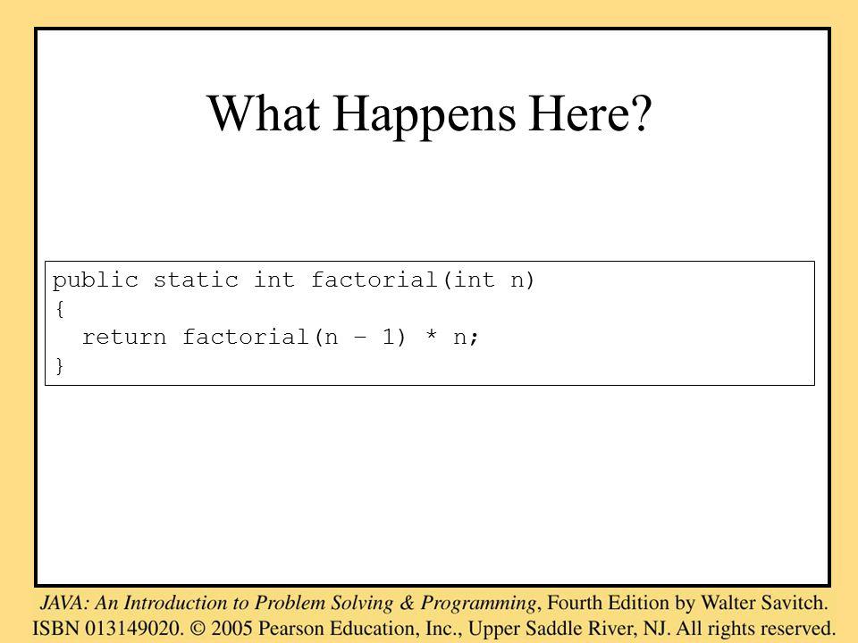 What Happens Here public static int factorial(int n) { return factorial(n – 1) * n; }