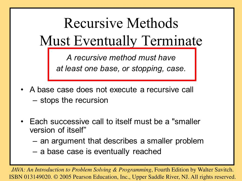 Recursive Methods Must Eventually Terminate A recursive method must have at least one base, or stopping, case.