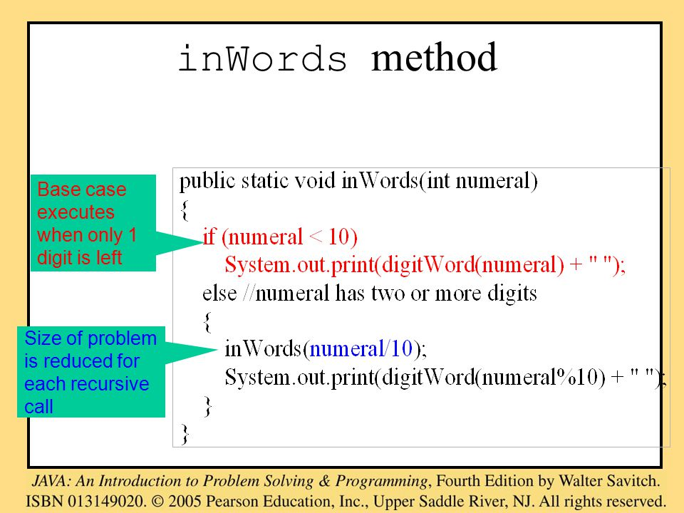 inWords method Base case executes when only 1 digit is left Size of problem is reduced for each recursive call