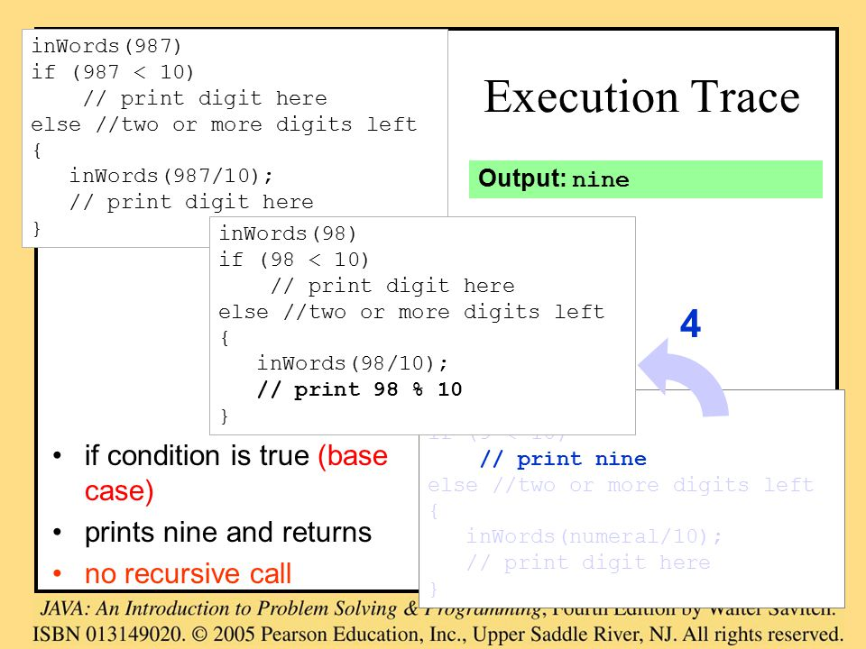 inWords(9) if (9 < 10) // print nine else //two or more digits left { inWords(numeral/10); // print digit here } Execution Trace if condition is true (base case) prints nine and returns no recursive call inWords(987) if (987 < 10) // print digit here else //two or more digits left { inWords(987/10); // print digit here } inWords(98) if (98 < 10) // print digit here else //two or more digits left { inWords(98/10); // print 98 % 10 } 4 Output: nine