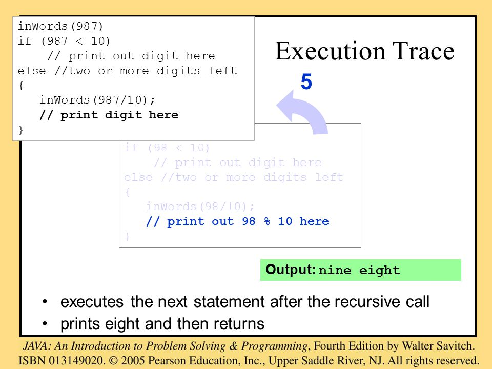 Output: nine eight Execution Trace executes the next statement after the recursive call prints eight and then returns inWords(98) if (98 < 10) // print out digit here else //two or more digits left { inWords(98/10); // print out 98 % 10 here } 5 inWords(987) if (987 < 10) // print out digit here else //two or more digits left { inWords(987/10); // print digit here }