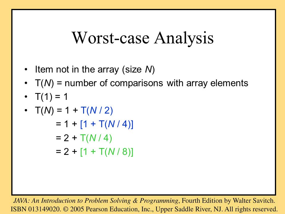 Worst-case Analysis Item not in the array (size N) T(N) = number of comparisons with array elements T(1) = 1 T(N) = 1 + T(N / 2) = 1 + [1 + T(N / 4)] = 2 + T(N / 4) = 2 + [1 + T(N / 8)]