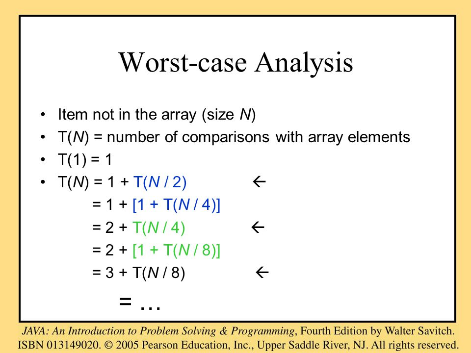 Worst-case Analysis Item not in the array (size N) T(N) = number of comparisons with array elements T(1) = 1 T(N) = 1 + T(N / 2)  = 1 + [1 + T(N / 4)] = 2 + T(N / 4)  = 2 + [1 + T(N / 8)] = 3 + T(N / 8)  = …