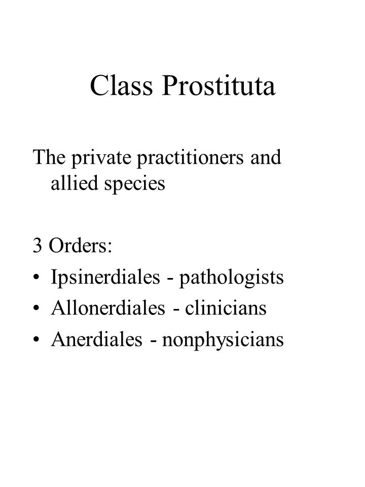 Class Prostituta The private practitioners and allied species 3 Orders: Ipsinerdiales - pathologists Allonerdiales - clinicians Anerdiales - nonphysicians