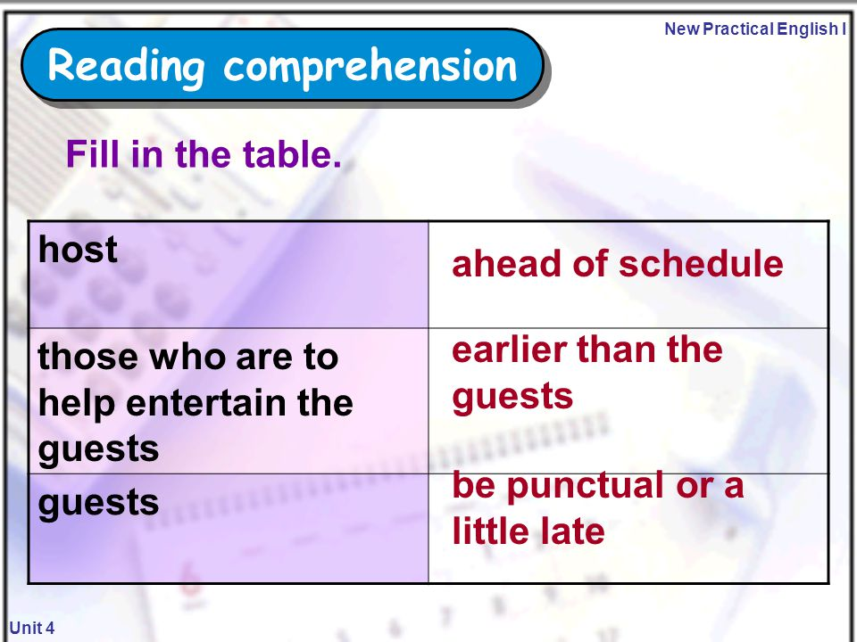 New Practical English I Unit 4 be punctual guests Reading comprehension