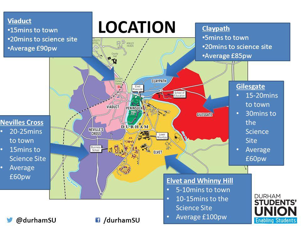 @durhamSU/durhamSUwww.durhamsu.com Viaduct 15mins to town 20mins to science site Average £90pw Claypath 5mins to town 20mins to science site Average £