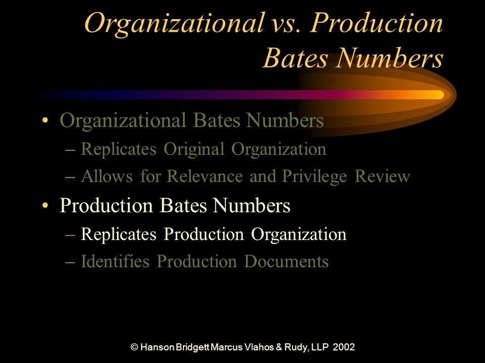 © Hanson Bridgett Marcus Vlahos & Rudy, LLP 2002 Organizational vs.