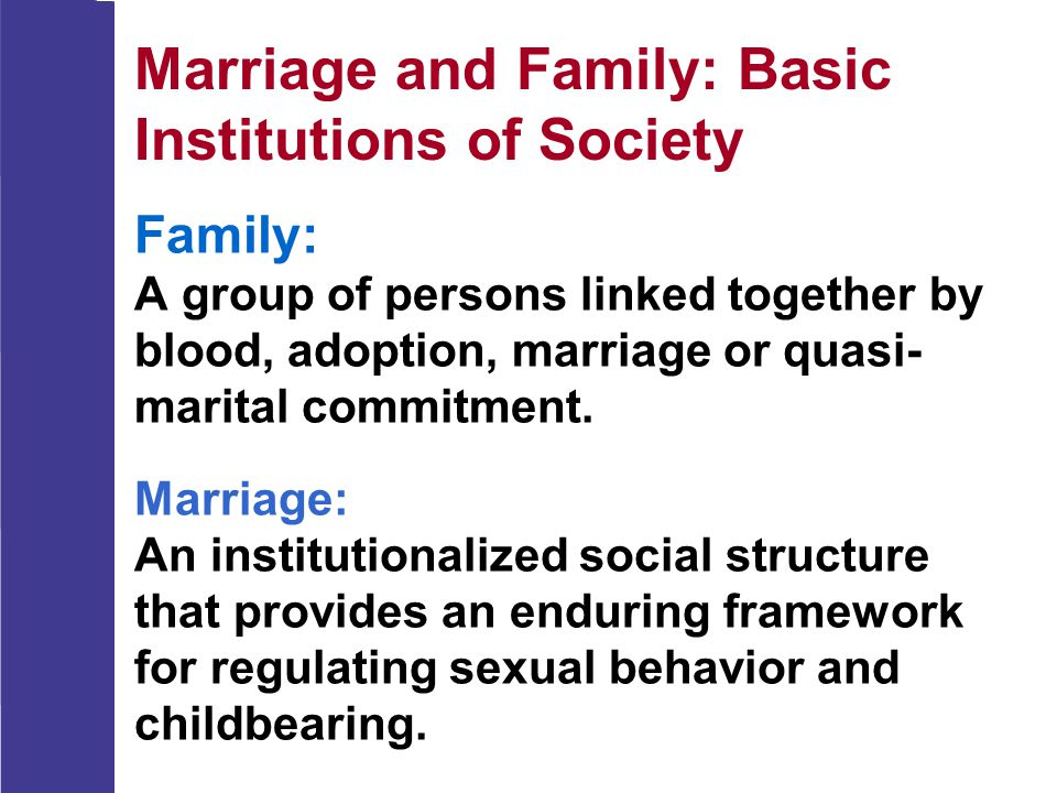 Cross-Cultural Variations  The importance of regulating sexual behavior, caring for dependents, socializing young, and providing emotional and financial security varies across societies and through time.
