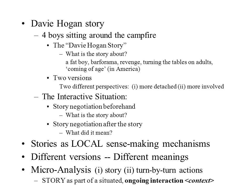 "Davie Hogan story –4 boys sitting around the campfire The ""Davie Hogan Story"" –What is the story about? a fat boy, barforama, revenge, turning the tab"