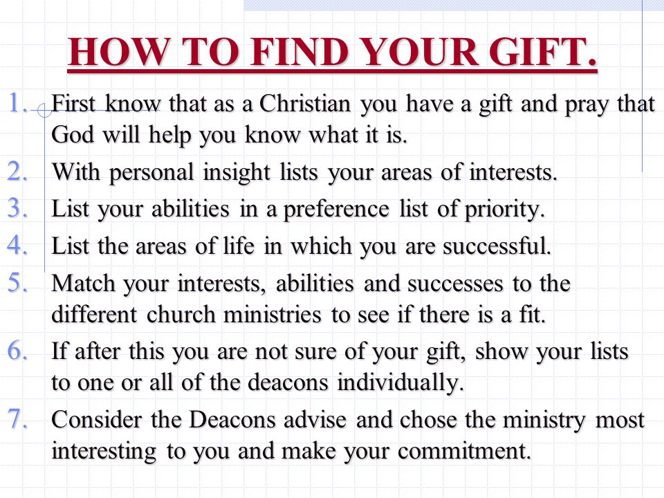 HOW TO FIND YOUR GIFT. 1.