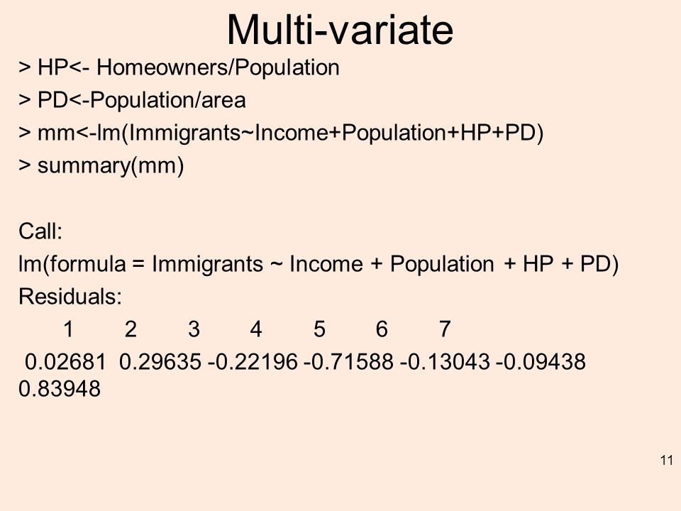 Multi-variate > HP<- Homeowners/Population > PD<-Population/area > mm<-lm(Immigrants~Income+Population+HP+PD) > summary(mm) Call: lm(formula = Immigrants ~ Income + Population + HP + PD) Residuals: 1 2 3 4 5 6 7 0.02681 0.29635 -0.22196 -0.71588 -0.13043 -0.09438 0.83948 11