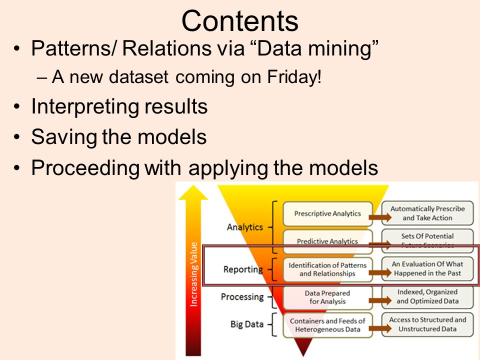 Data Mining Classification (Supervised Learning) –Classifiers are created using labeled training samples –Training samples created by ground truth / experts –Classifier later used to classify unknown samples Clustering (Unsupervised Learning) –Grouping objects into classes so that similar objects are in the same class and dissimilar objects are in different classes –Discover overall distribution patterns and relationships between attributes Association Rule Mining –Initially developed for market basket analysis –Goal is to discover relationships between attributes –Uses include decision support, classification and clustering Other Types of Mining –Outlier Analysis –Concept / Class Description –Time Series Analysis